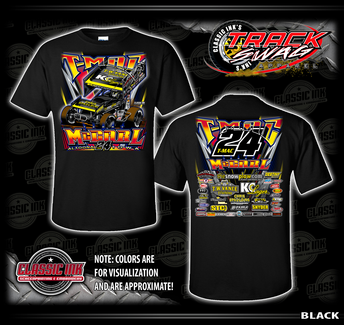 2c5d8b14 Our racing packages include the 'Quick Change' design, the 'Quick Crew'  design, and our famous full-custom 'Track Swag' package.